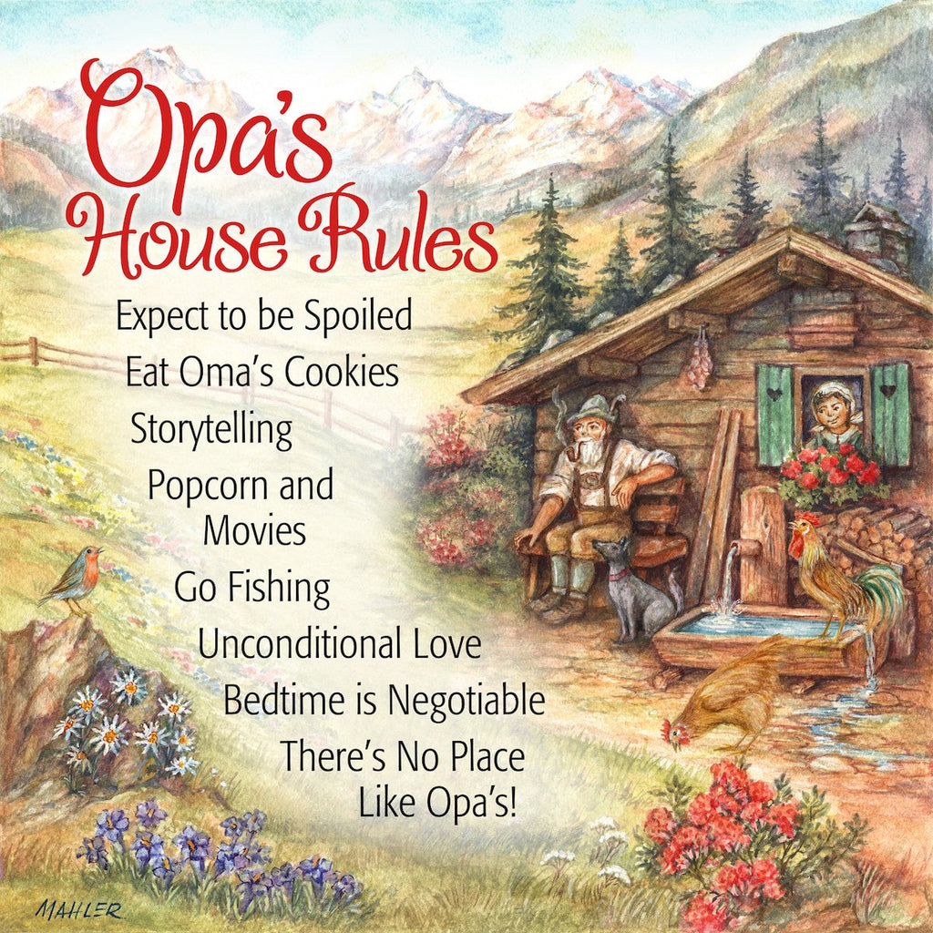 inchesOpa's House Rules inches German Gift Idea Ceramic Wall Tile - CT-100, CT-102, CT-210, CT-220, Dutch, Kitchen Decorations, New Products, NP Upload, Oma & Opa, Opa, SY:, SY: Opas House Rules, Tiles, Under $10, Yr-2015