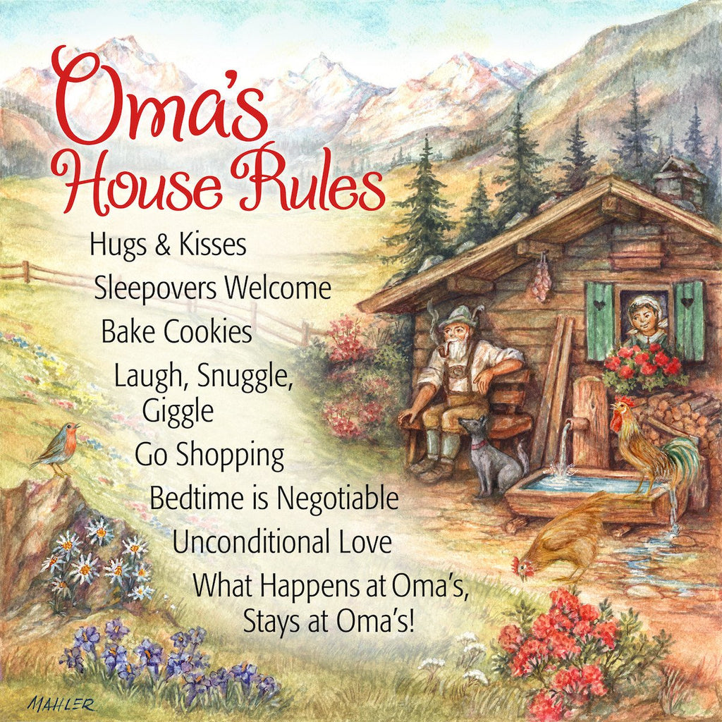 inchesOma's House Rules inches German Gift Idea Ceramic Wall Tile - CT-100, CT-102, CT-210, CT-220, Dutch, Kitchen Decorations, New Products, NP Upload, Oma, Oma & Opa, SY:, SY: Omas House Rules, Tiles, Under $10, Yr-2015