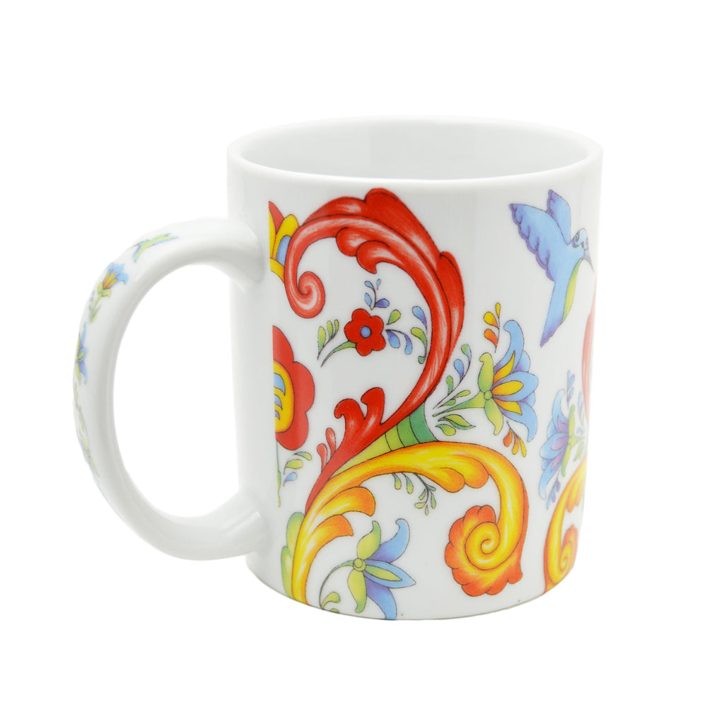 Ceramic Coffee Mug Colorful Rosemaling - Coffee Mugs, Coffee Mugs-German, Coffee Mugs-Swedish, CT-500, European, New Products, NP Upload, Rosemaling, Scandinavian, Top-SWED-A, Under $10, Yr-2015 - 2 - 3