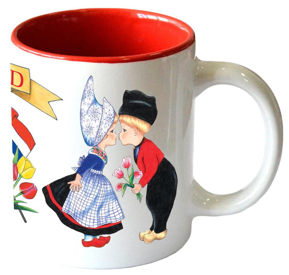 inchesI Love Holland inches Coffee Mug with Dutch Kissing Couple - Ceramics, Coffee Mugs, Coffee Mugs-Dutch, Dutch, New Products, NP Upload, PS-Party Favors Dutch, SY: I Love Holland, Tableware, Under $10, Yr-2017