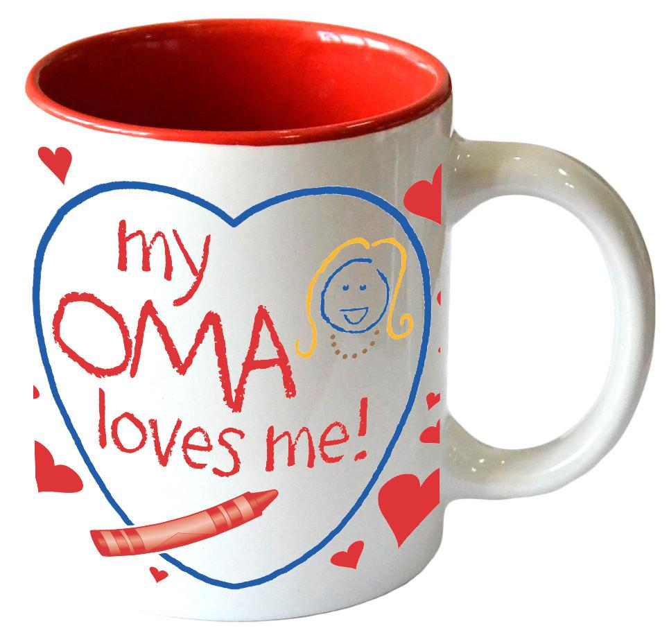 Gift for Oma's Grandchildren Mug   inchesMy Oma Loves Me inches - Ceramics, Coffee Mugs, Coffee Mugs-Dutch, Coffee Mugs-German, CT-100, CT-102, CT-500, New Products, NP Upload, Oma, SY: Oma Loves Me, Tableware, Under $10, Yr-2017