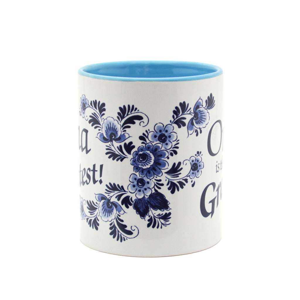 inchesOma is the Greatest inches German Blue Ceramic Coffee Mug - Coffee Mugs, Coffee Mugs-Dutch, Coffee Mugs-German, CT-500, New Products, NP Upload, Oma, Oma & Opa, SY:, SY: Oma House Rules, Under $10, Yr-2016 - 2 - 3