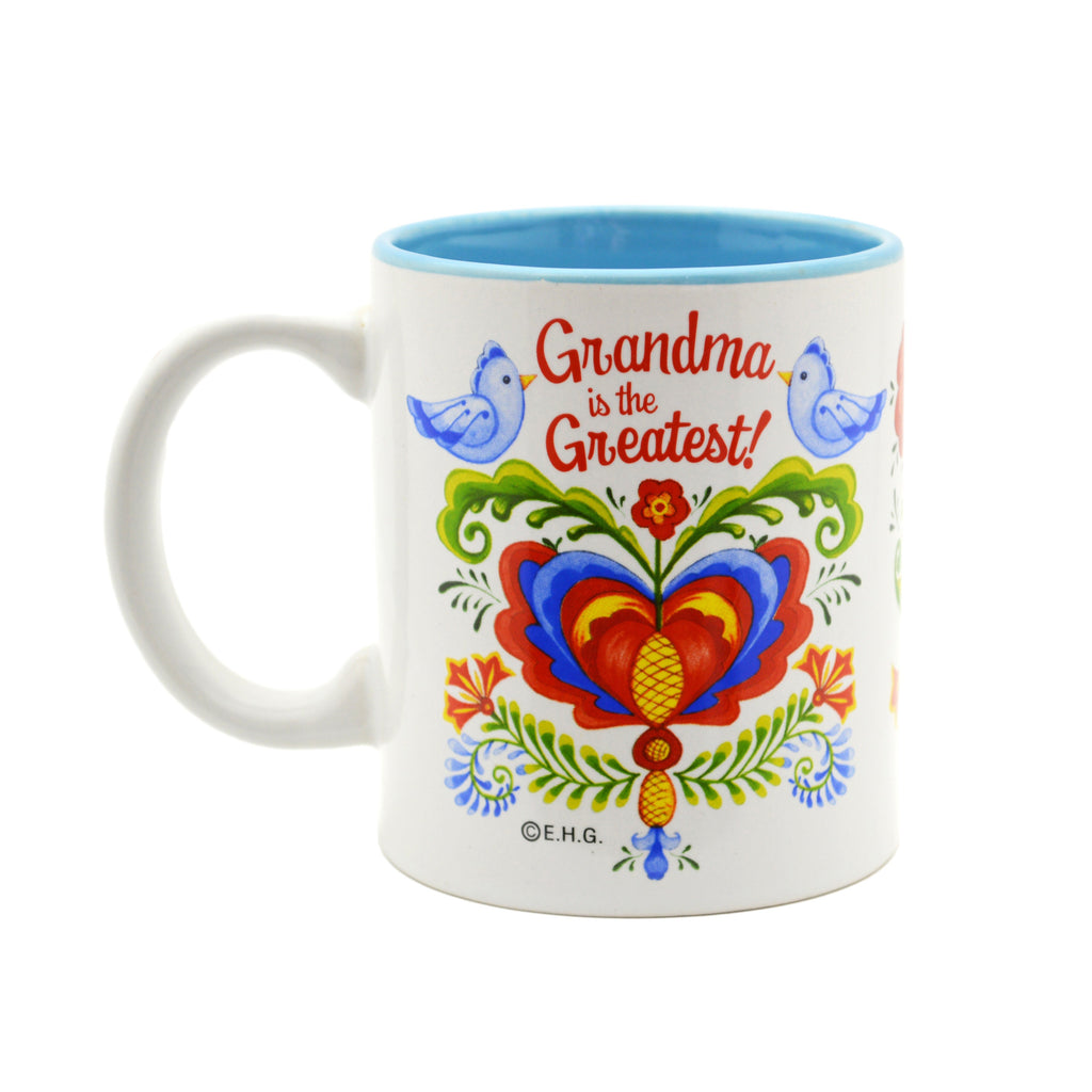 Ceramic Coffee Mug  inchesGrandma is the Greatest inches - Coffee Mugs, CT-100, CT-101, CT-102, Grandma, New Products, NP Upload, Rosemaling, SY:, SY: Grandma Greatest, Under $10, Yr-2016 - 2 - 3 - 4