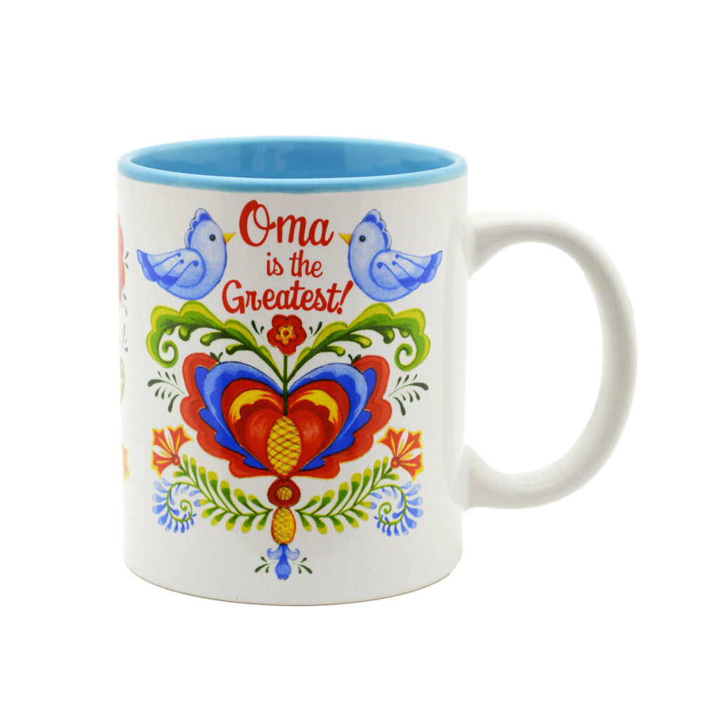 """Oma is the Greatest"" Bird Design Ceramic Coffee Mug - 1 - GermanGiftOutlet.com"