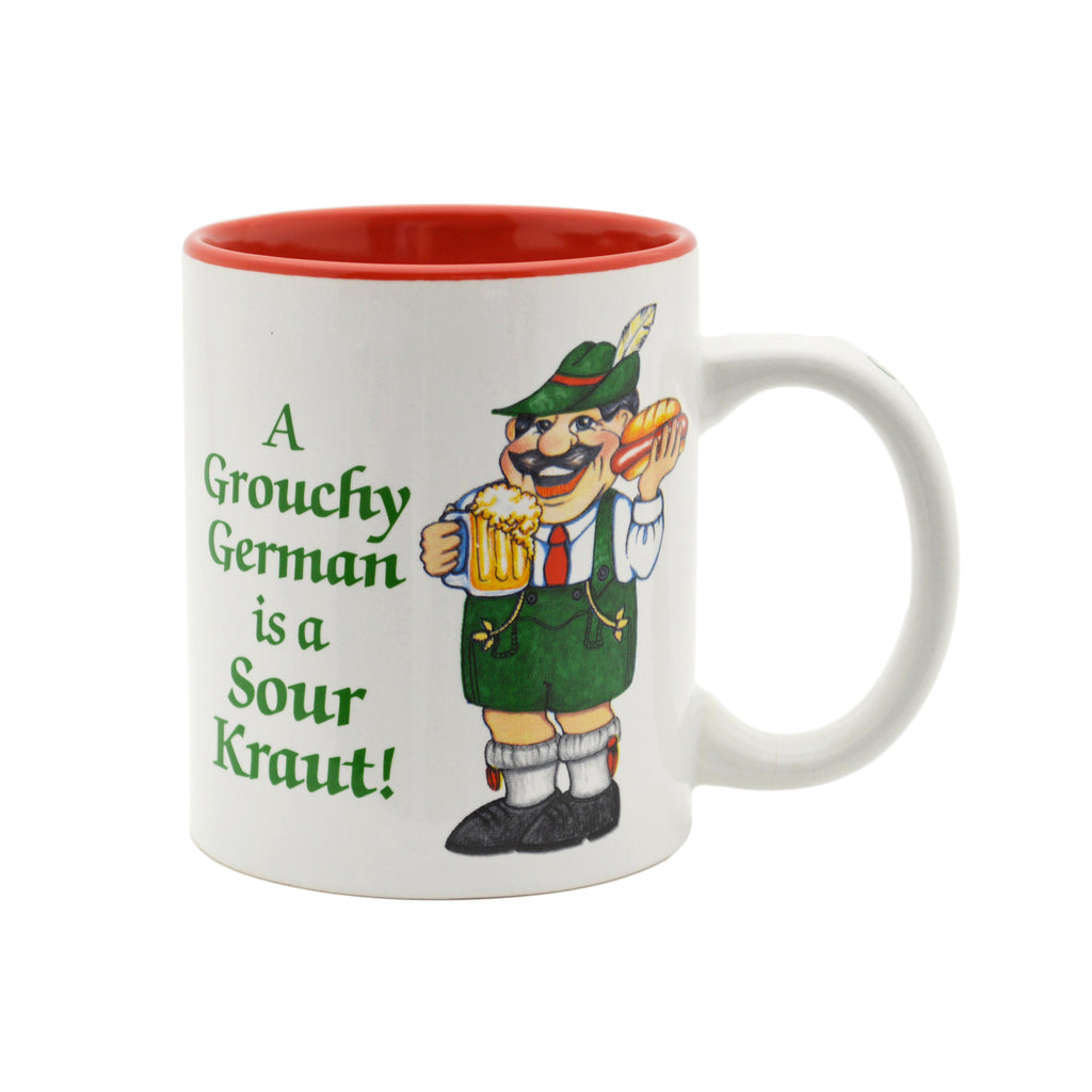 German Gift Idea Mug  inchesA Grouchy German Is A Sour Kraut inches - Coffee Mugs, Coffee Mugs-German, CT-500, German, New Products, NP Upload, PS-Party Favors German, SY:, SY: Grouchy German, Under $10, Yr-2016