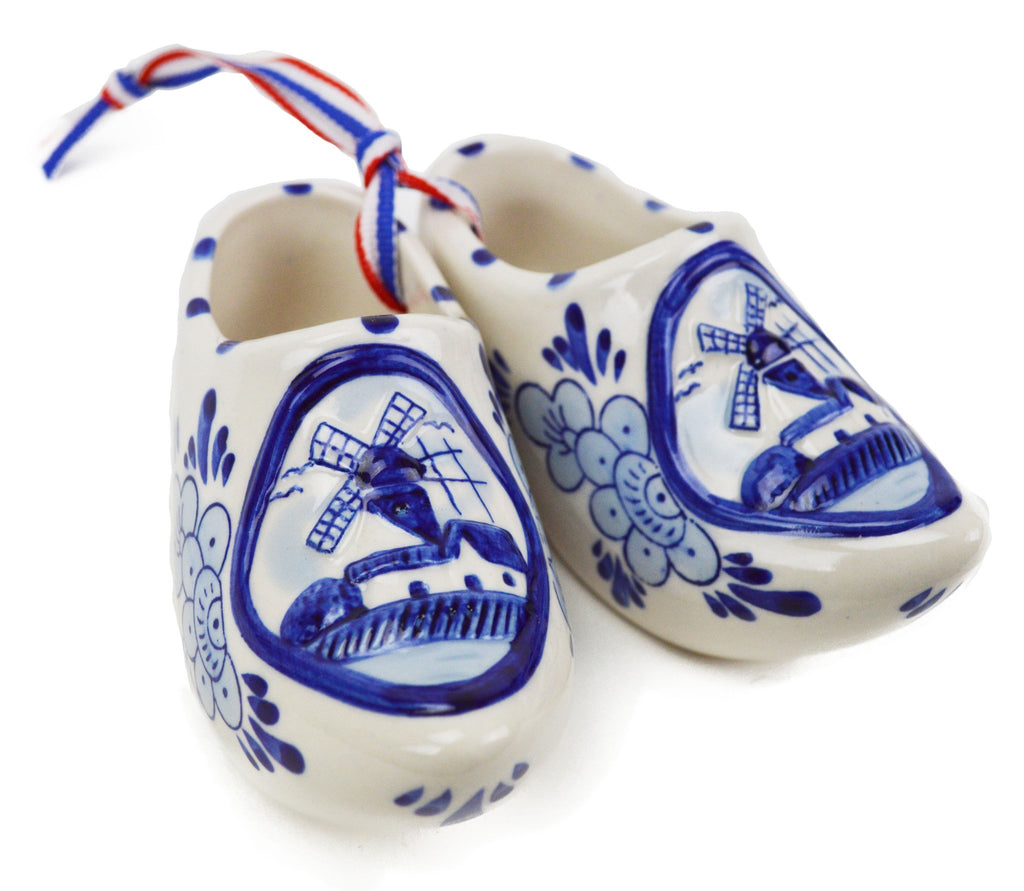 Embossed Windmill Blue and White Shoe Pair - CT-600, Delft Blue, Dutch, Home & Garden, New Products, NP Upload, PS-Party Favors, PS-Party Favors Dutch, Small, Under $10, Wooden Shoes, Yr-2016