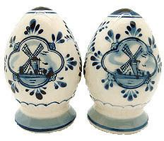 Ceramic Pepper and Salt Shakers: Egg Set - Below $10, Ceramics, Collectibles, Delft Blue, Dutch, Home & Garden, Kitchen Decorations, S&P Sets, Tableware, Under $10 - 2 - 3 - 4
