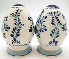 Ceramic Pepper and Salt Shakers: Egg Set - Below $10, Ceramics, Collectibles, Delft Blue, Dutch, Home & Garden, Kitchen Decorations, S&P Sets, Tableware, Under $10 - 2 - 3