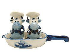 Cows Pepper and Salt Shakers: Chef Cows - Animal, Below $10, Ceramics, Collectibles, Delft Blue, Dutch, Home & Garden, Kitchen Decorations, S&P Sets, Tableware, Top-DTCH-B, Under $10