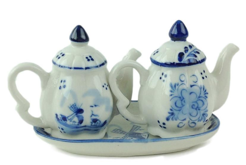 Ceramic Blue & White Pepper and Salt Tea Pot Set - Below $10, Collectibles, Delft Blue, Dutch, Home & Garden, Kitchen Decorations, S&P Sets, Tableware, Tea, Tea Pots, Top-DTCH-B, Under $10