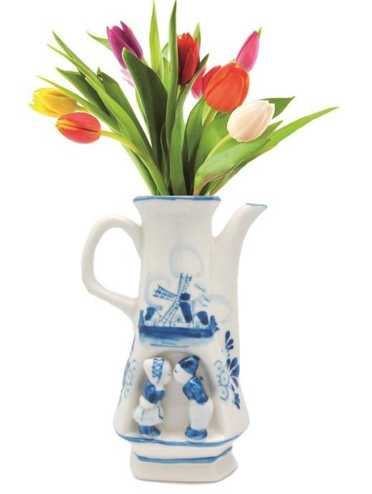 Kissing Couple Blue and White Flower Vase - Delft Blue, Dutch, New Products, NP Upload, Under $10, Yr-2015 - 2