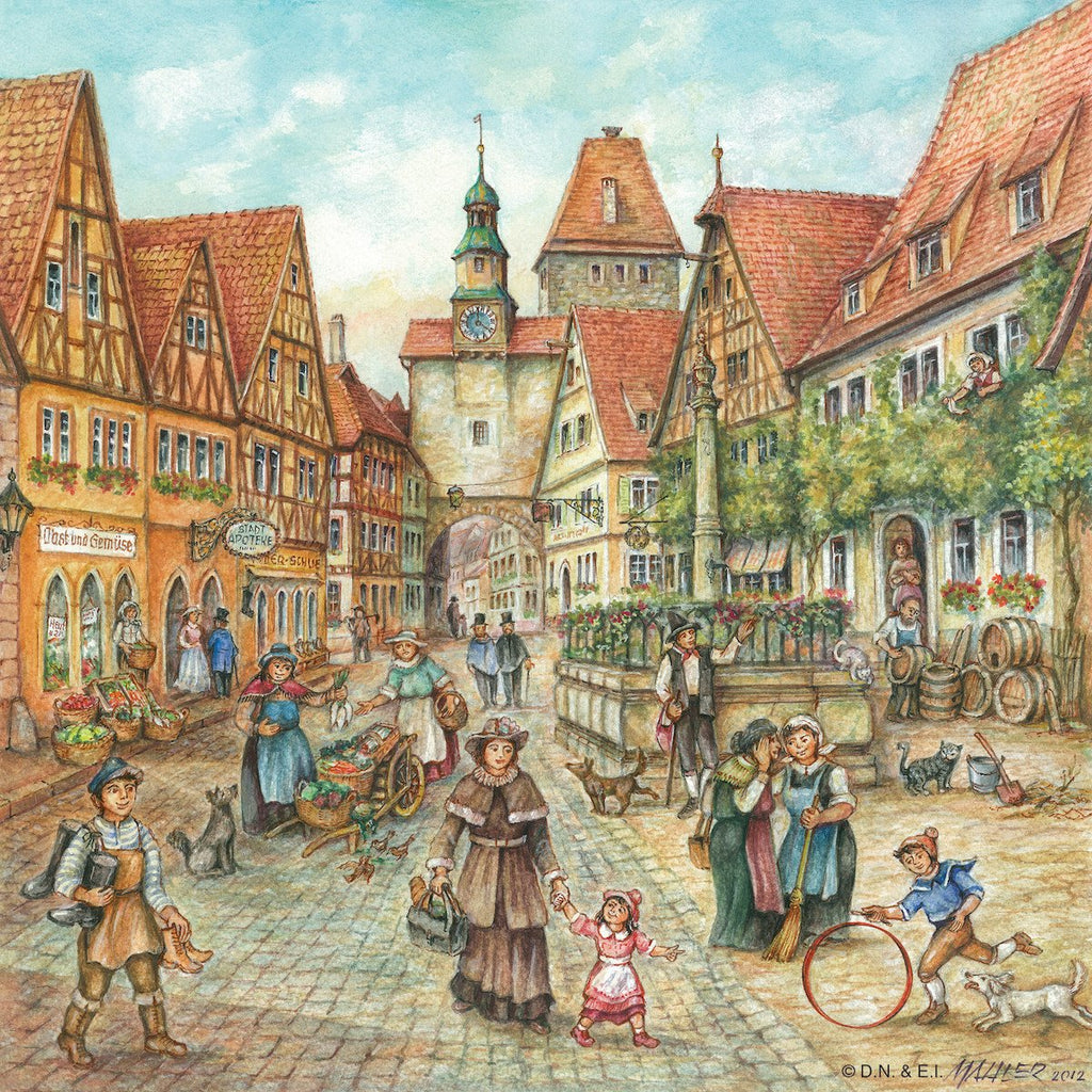 German Town Scene Decorative Ceramic Tile - Collectibles, CT-220, German, Germany, Home & Garden, Joseph Mahler, Kitchen Decorations, Tiles-Scenic