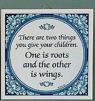 Inspirational Plaque: Give Children Wings… - Below $10, Collectibles, General Gift, Home & Garden, Kitchen Decorations, SY: Give Children Wings, Tiles-Sayings, Under $10 - 2