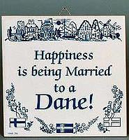 Happiness Married Dane:Inspirational Wall Plaque - Below $10, Collectibles, CT-205, Danish, Home & Garden, Kissing Couple, Kitchen Decorations, SY: Happiness Married to Danish, Tiles-Danish