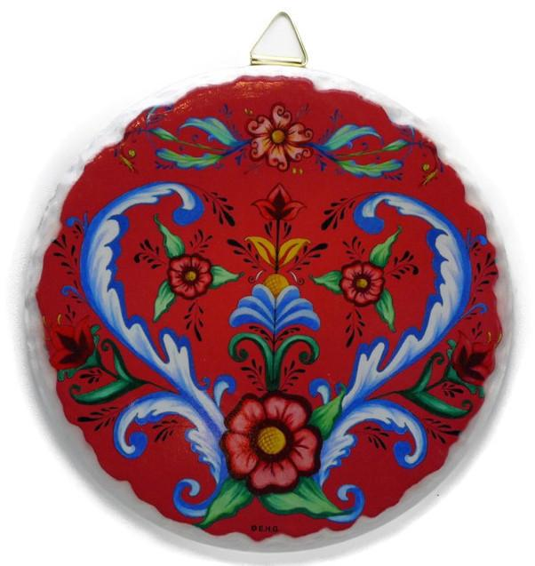 Round Ceramic Plaque Rosemaling - Below $10, Collectibles, Home & Garden, Kitchen Decorations, Rosemaling, Scandinavian, swedish, Tiles-Shields-Swedish, Under $10