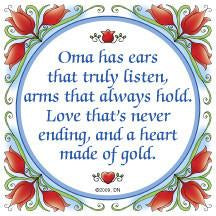 Gift For Oma: Oma Heart of Gold.. Ceramic Tile - Collectibles, CT-100, CT-102, CT-210, CT-220, Dutch, German, Germany, Home & Garden, Kitchen Decorations, Kitchen Magnets, Magnet Tiles, Magnets-German, Magnets-Refrigerator, Oma, SY: Oma Heart of Gold, Tiles-German