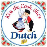 Decorative Wall Plaque Kiss Dutch Cook... - Collectibles, CT-210, Dutch, Home & Garden, Kissing Couple, Kitchen Decorations, Kitchen Magnets, Magnet Tiles, Magnets-Dutch, Magnets-Refrigerator, SY: Kiss Cook-Dutch, Tiles-Dutch, Top-DTCH-B, Wife