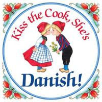Kitchen Wall Plaques Kiss Danish Cook - Below $10, Collectibles, CT-205, Danish, Home & Garden, Kissing Couple, Kitchen Decorations, Kitchen Magnets, Magnet Tiles, Magnets-Refrigerator, SY: Kiss Cook-Danish, Tiles-Danish, Top-DNMK-A, Wife