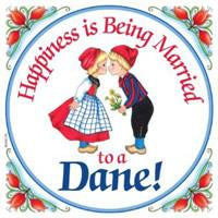 Kitchen Wall Plaques Happy Danish - Below $10, Collectibles, CT-205, Danish, Home & Garden, Kissing Couple, Kitchen Decorations, Kitchen Magnets, Magnet Tiles, Magnets-Refrigerator, SY: Happiness Married to Danish, Tiles-Danish, Top-DNMK-A, Under $10
