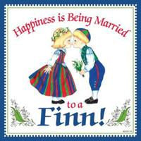 Kitchen Wall Plaques Happily Married Finn - Below $10, Collectibles, CT-215, Finnish, Home & Garden, Kissing Couple, Kitchen Decorations, SY: Happiness Married to a Finn, Tiles-Finnish, Top-FINN-A, Under $10