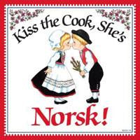 Kitchen Wall Plaques Kiss Norsk Cook - Below $10, Collectibles, CT-240, Home & Garden, Kissing Couple, Kitchen Decorations, Magnet Tiles, Magnets-Refrigerator, Norwegian, SY: Kiss Cook-Norwegian, Tiles-Norwegian, Top-NRWY-B, Wife