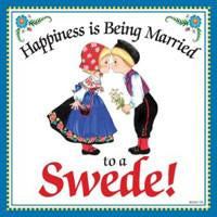 Kitchen Wall Plaques Happily Married Swede - Below $10, Collectibles, Home & Garden, Kissing Couple, Kitchen Decorations, Kitchen Magnets, Magnet Tiles, Magnets-Refrigerator, Swedish, SY: Happiness Married to Swede, Tiles-Swedish, Under $10