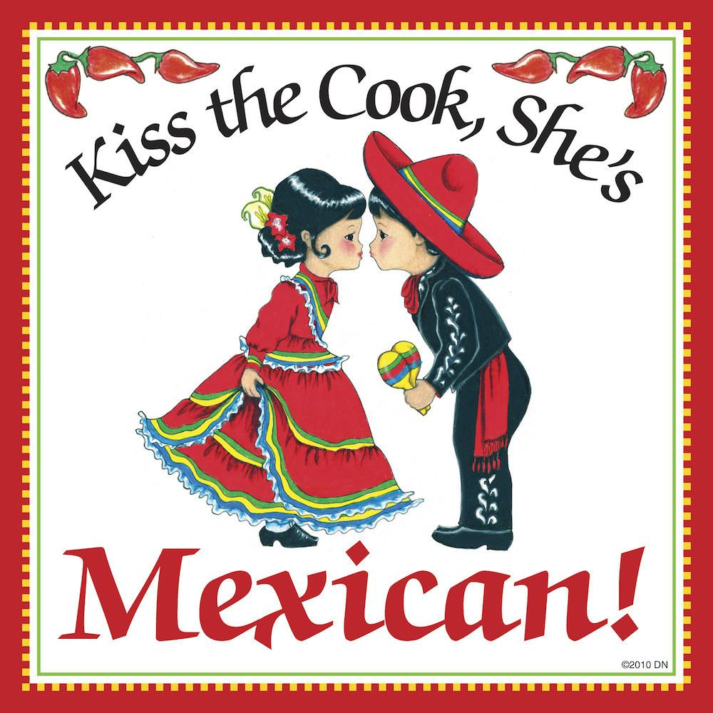 Mexican Gift Plaque Kiss Mexican Cook - Below $10, Collectibles, CT-235, Home & Garden, Kissing Couple, Kitchen Decorations, Magnet Tiles, Magnets-Refrigerator, Mexican, SY: Kiss Cook-Mexican, Tiles-Mexican, Wife
