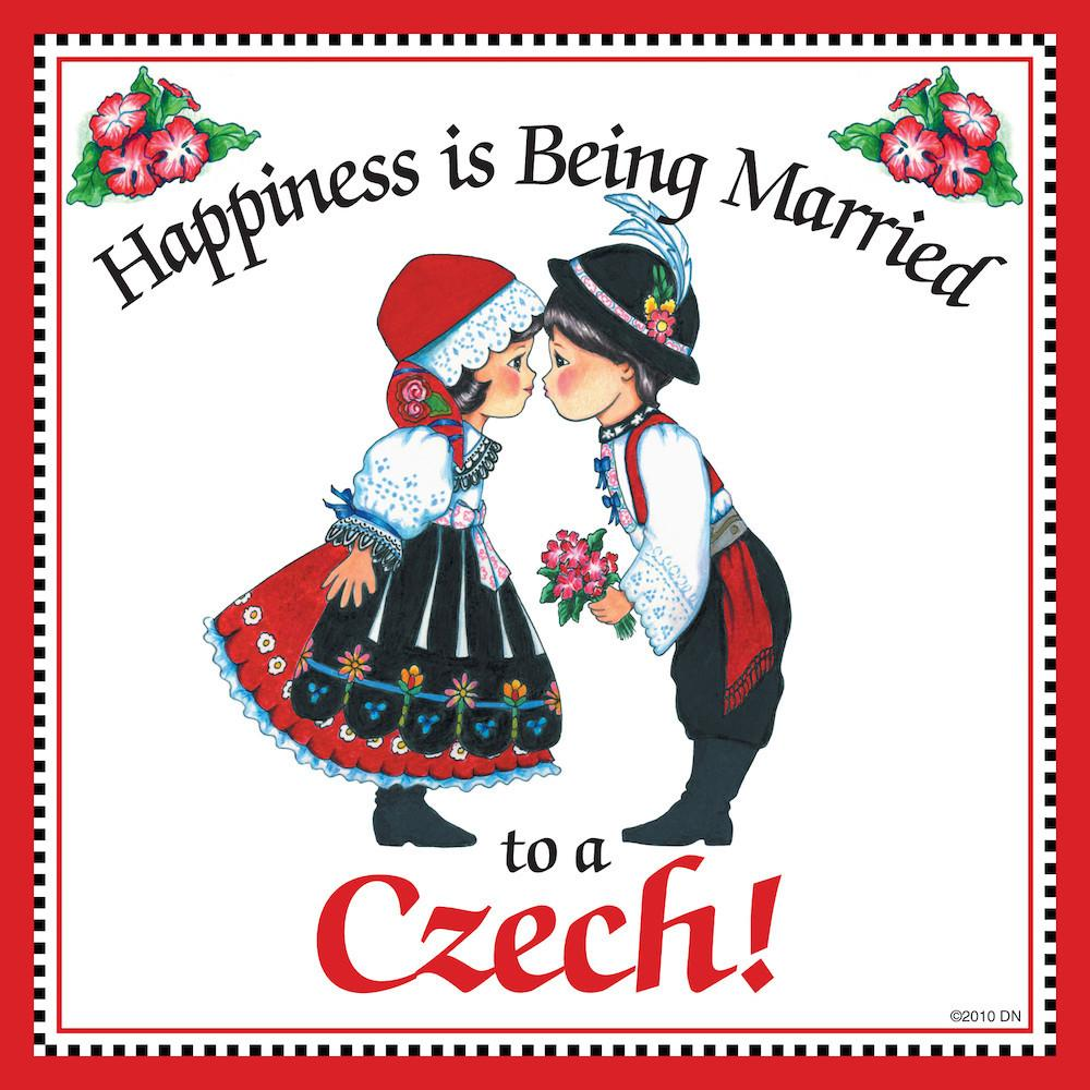Czech Gift Tile:  inchesMarried to Czech inches - Below $10, Collectibles, CT-150, CT-200, Czech, Home & Garden, Kissing Couple, Kitchen Decorations, SY: Happiness Married Czech, Tiles-Czech