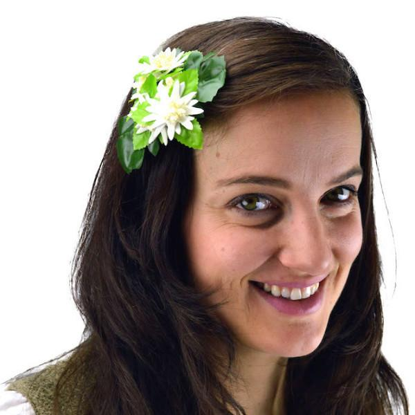 Edelweiss Bridal Flower Oktoberfest Hair Clip - Apparel-Costumes, Below $10, Edelweiss, Garlands, German, Germany, Hats, Hats-Hair Accessories, Hats-Hair Clip, Hats-Kids, Home & Garden, Top-GRMN-B - 2 - 3 - 4