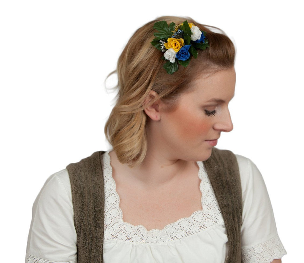 Floral Oktoberfest Hair Clip Fastener Blue and White - Apparel-Costumes, Below $10, Edelweiss, Garlands, German, Hats, Hats-Hair Accessories, Hats-Hair Clip, Hats-Kids, Home & Garden, swedish, Top-GRMN-B - 2 - 3