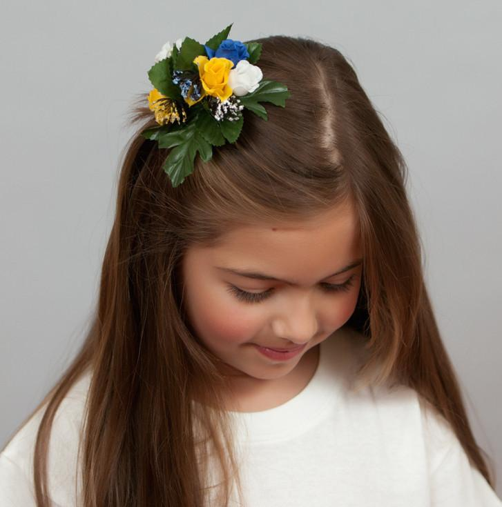 Floral Oktoberfest Hair Clip Fastener Blue and White - Apparel-Costumes, Below $10, Edelweiss, Garlands, German, Hats, Hats-Hair Accessories, Hats-Hair Clip, Hats-Kids, Home & Garden, swedish, Top-GRMN-B - 2 - 3 - 4 - 5