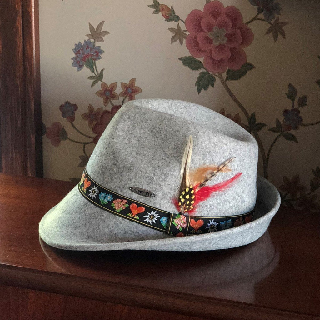 HAT: AUSTRIAN GRAY 100% WOOL WITH EMBROIDERED BAND
