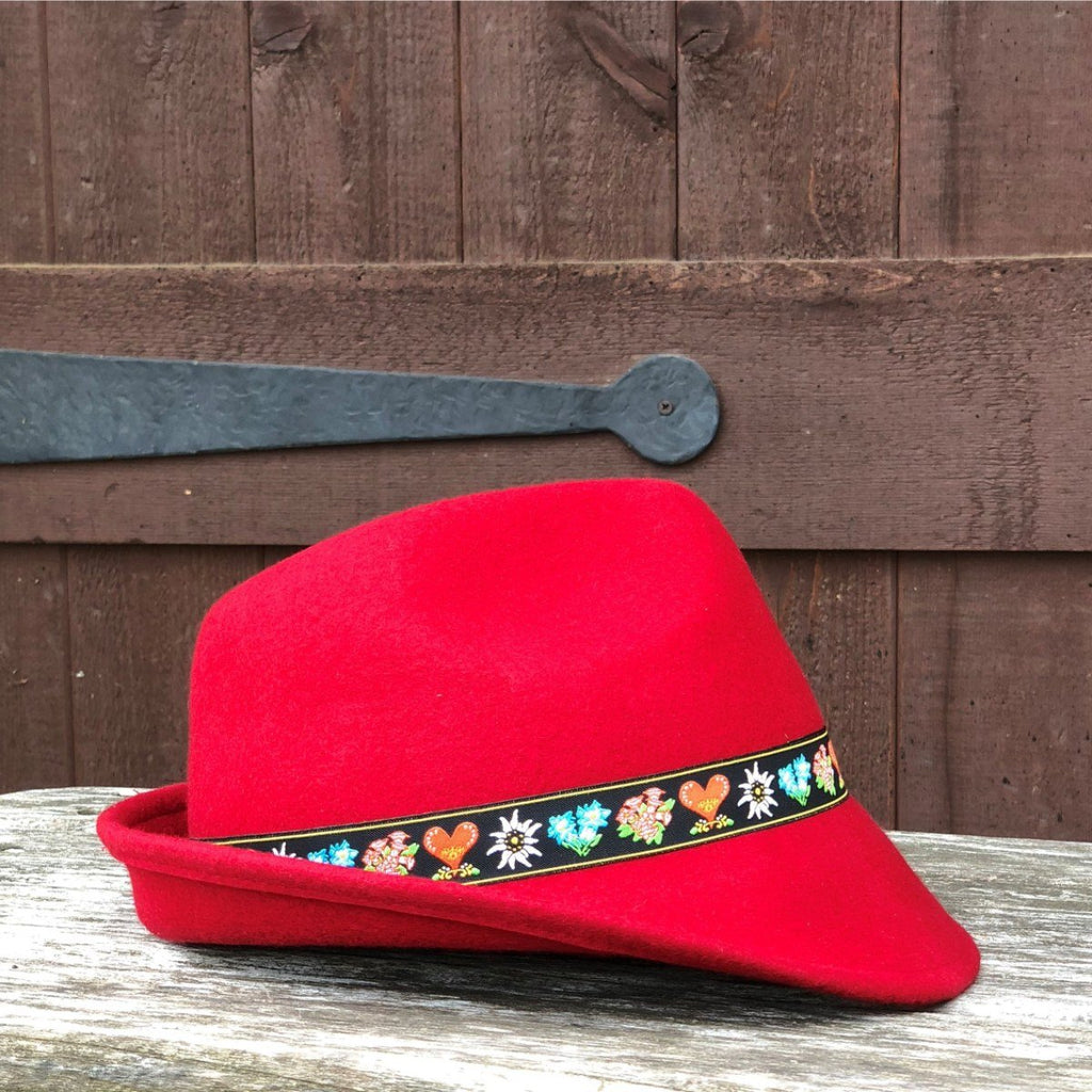 HAT: 100% WOOL RED AUSTRIAN EMBROIDERY BAND