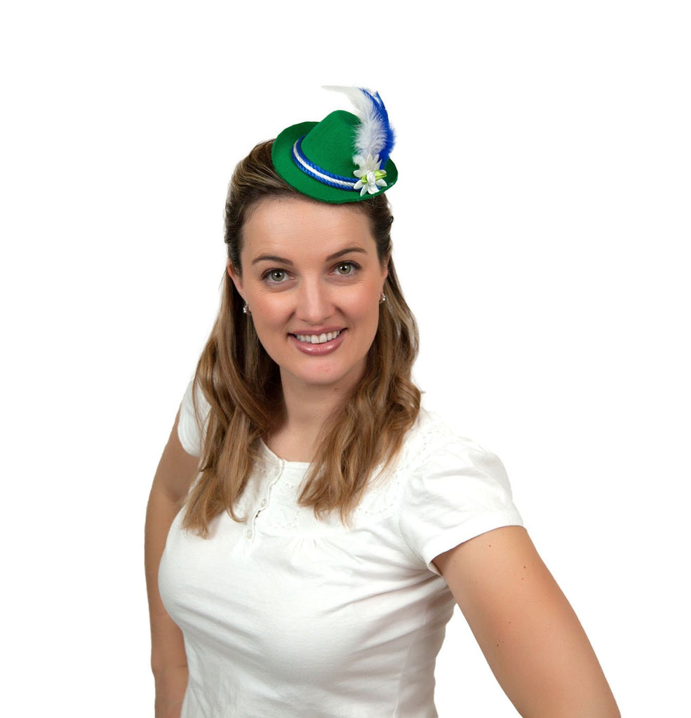 Oktoberfest Costume Mini Green Bavarian Hat - Apparel-Costumes, German, Hats, Hats-Hair Accessories, Hats-Hair Clip, Hats-Mini, Hats-Party, New Products, NP Upload, PS-Party Supplies, Under $10, Yr-2017