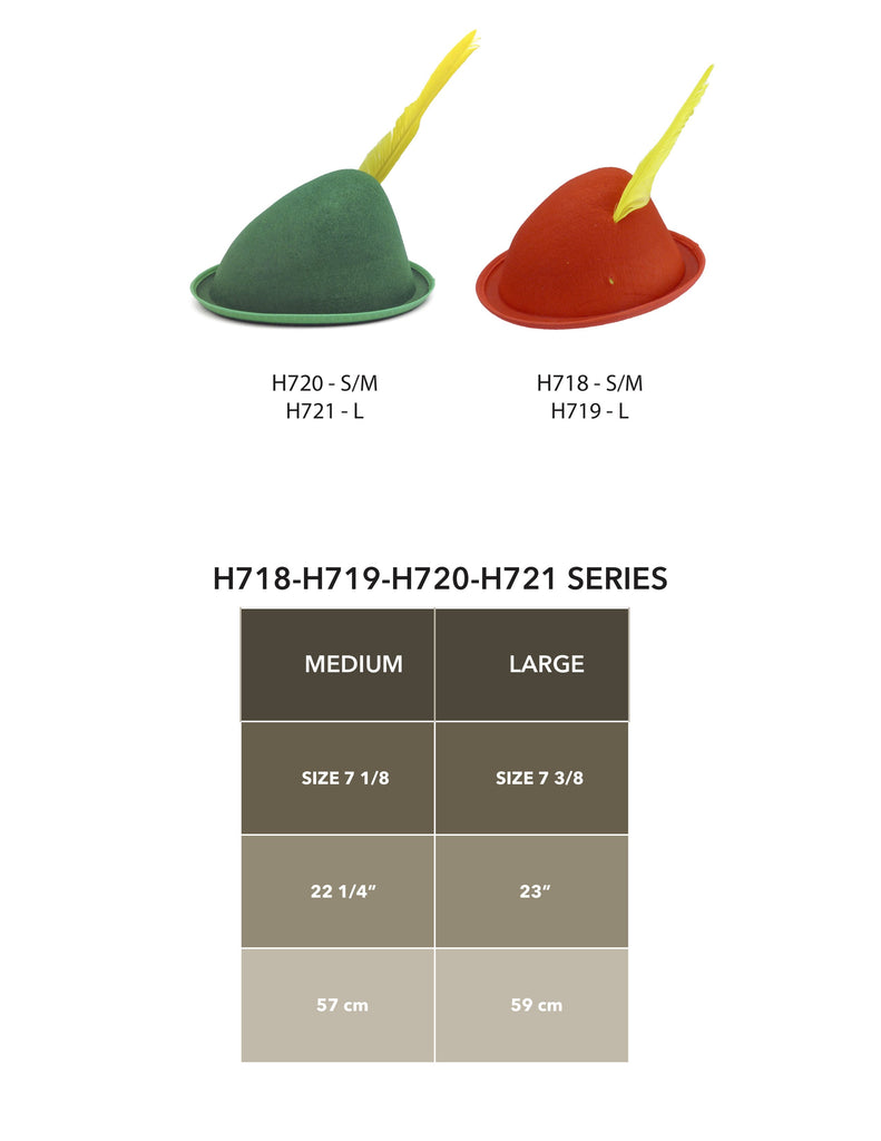 Oktoberfest  inchesPeter Pan inches Party Hat Red with Yellow Feather - Apparel-Costumes, felt, German, Germany, Hats, Hats-Kids, Hats-Party, L, Medium, Oktoberfest, Size, Top-GRMN-B Size Chart