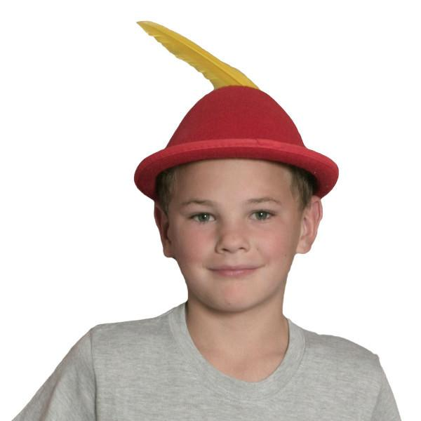 Oktoberfest  inchesPeter Pan inches Party Hat Red with Yellow Feather - Apparel-Costumes, felt, German, Germany, Hats, Hats-Kids, Hats-Party, L, Medium, Oktoberfest, Size, Top-GRMN-B - 2