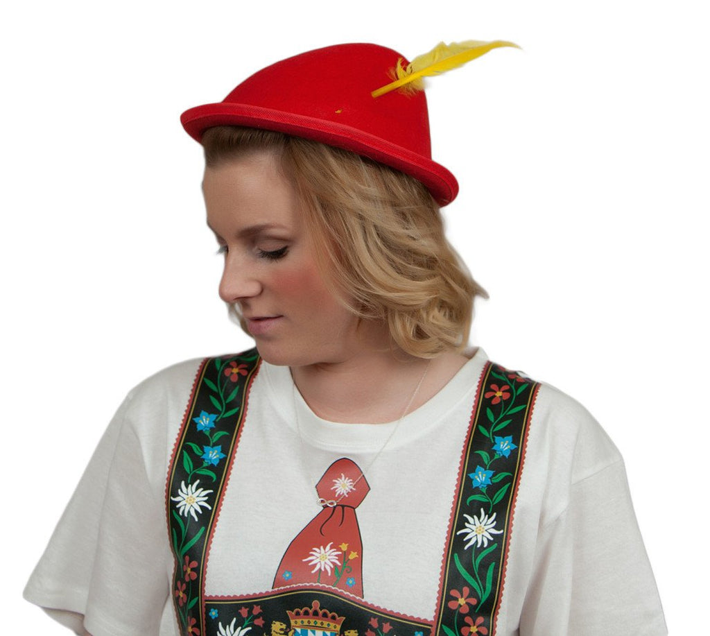 Oktoberfest  inchesPeter Pan inches Party Hat Red with Yellow Feather - Apparel-Costumes, felt, German, Germany, Hats, Hats-Kids, Hats-Party, L, Medium, Oktoberfest, Size, Top-GRMN-B - 2 - 3