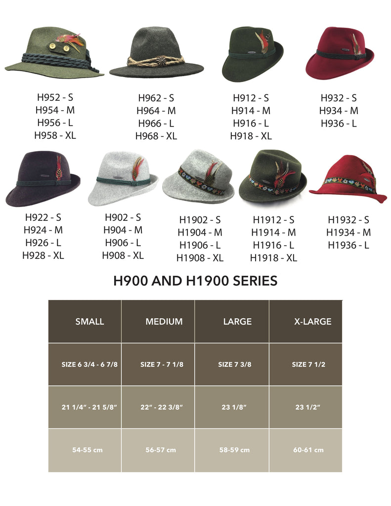 100% Wool Green  German Alps Hat Hat Size Chart