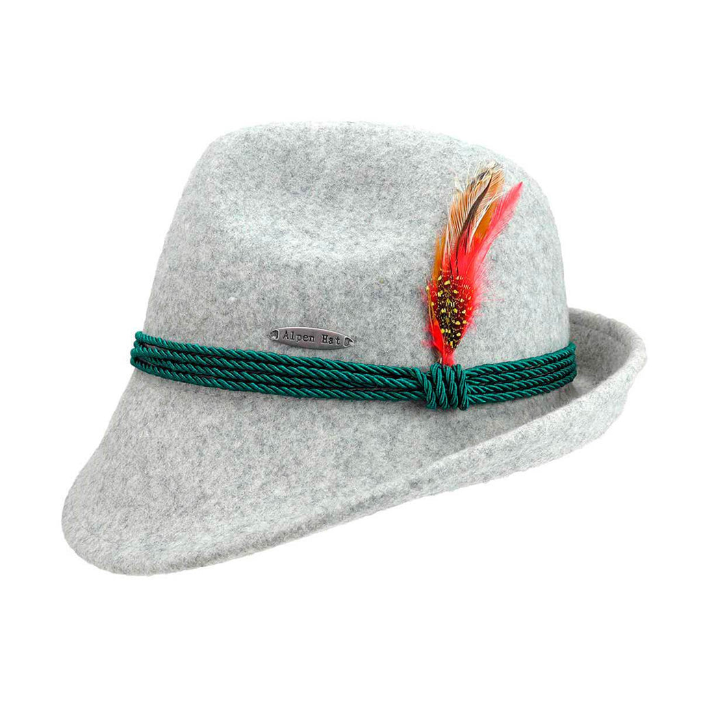 HAT:100% WOOL AUSTRIAN GRAY WOOL WITH ROPE BRAIDS