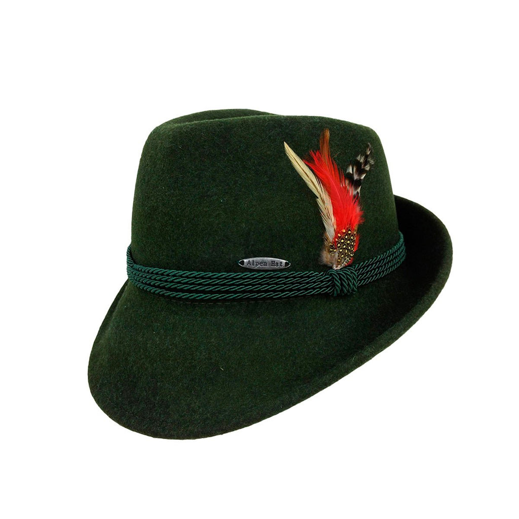 HAT:100% WOOL GREEN AUSTRIAN ROPE BAND