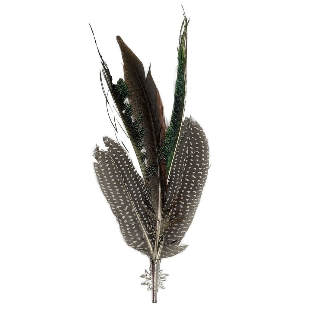 "HP361: HAT PIN: 9.5"" FEATHERS/EDELWE"