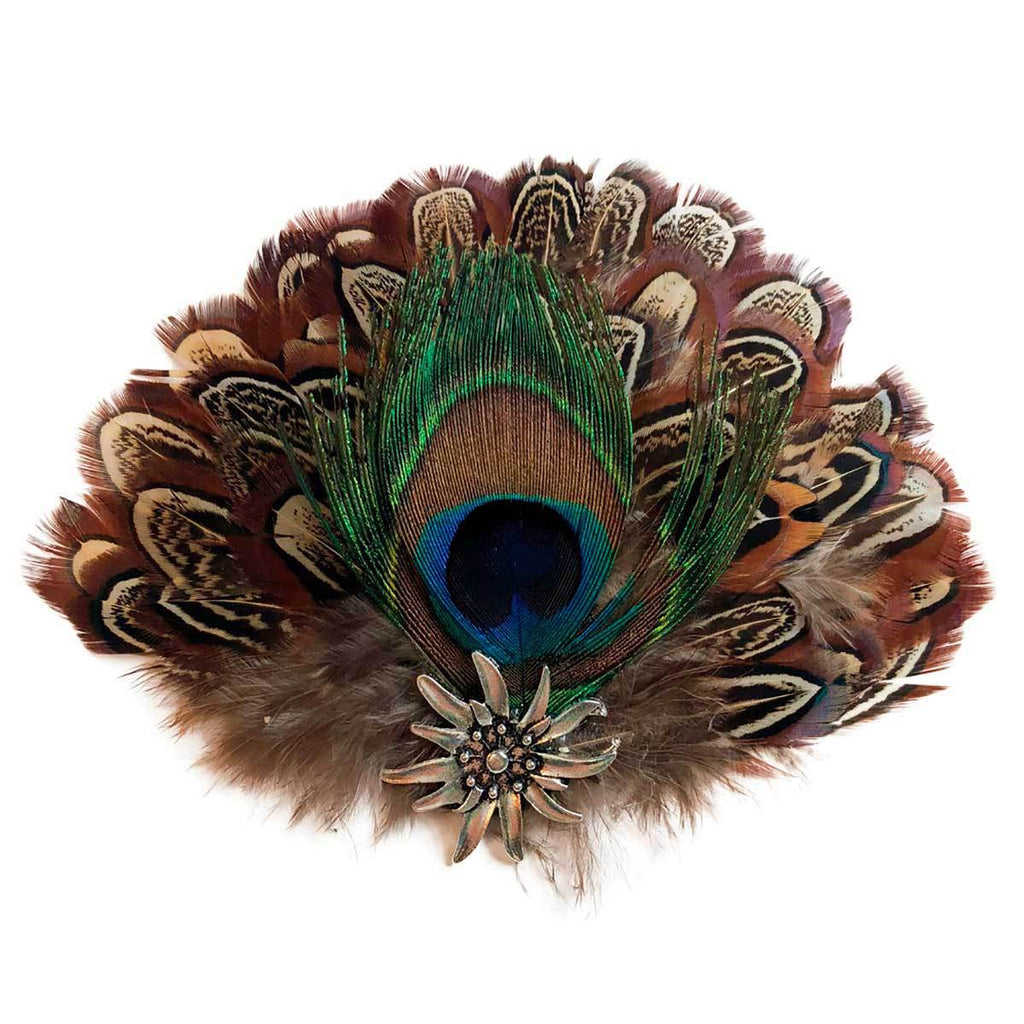 German Hat Pin Deluxe Peacock & Brown Hat Feathers -1