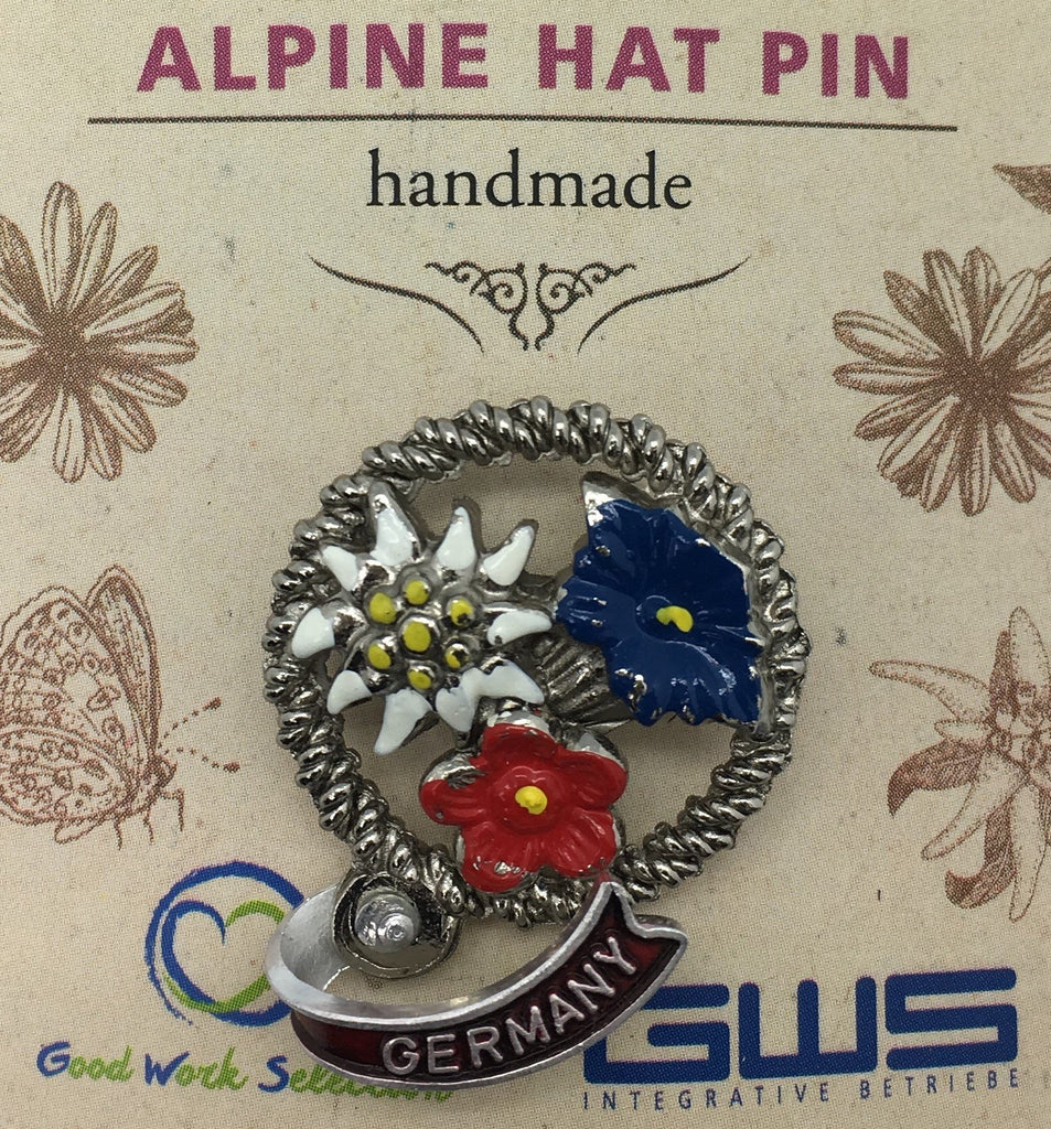 HP504: HAT PIN: 3 FLOWERS IN CIRCLE