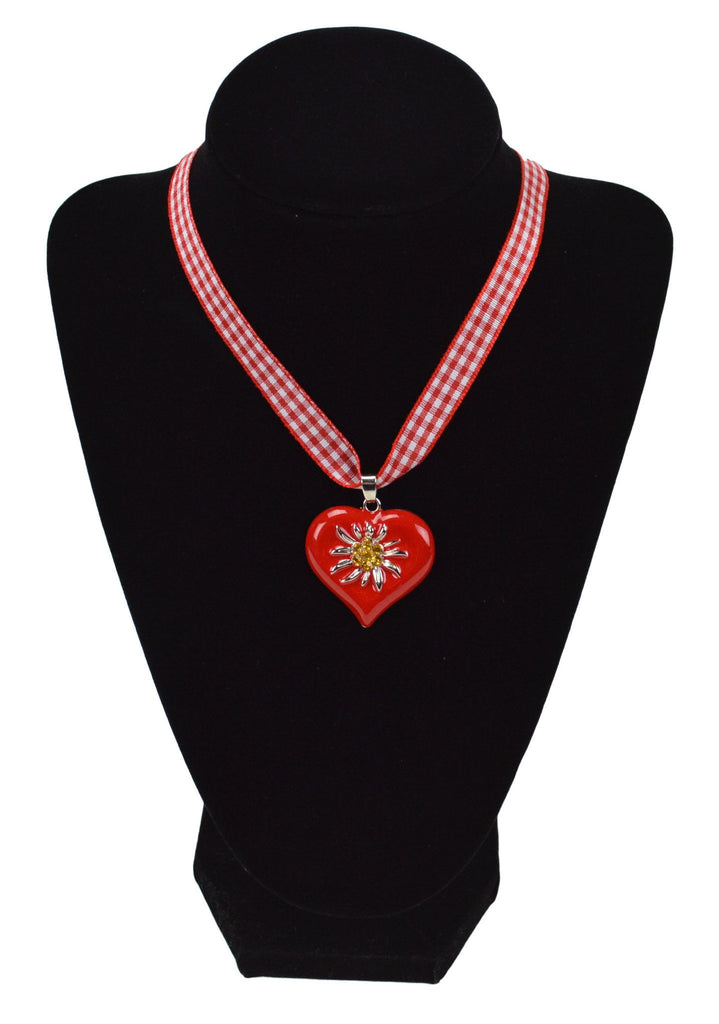 Edelweiss Red Heart Necklace Oktoberfest Jewelry - Edelweiss, German, Jewelry, New Products, NP Upload, Under $10, Yr-2016