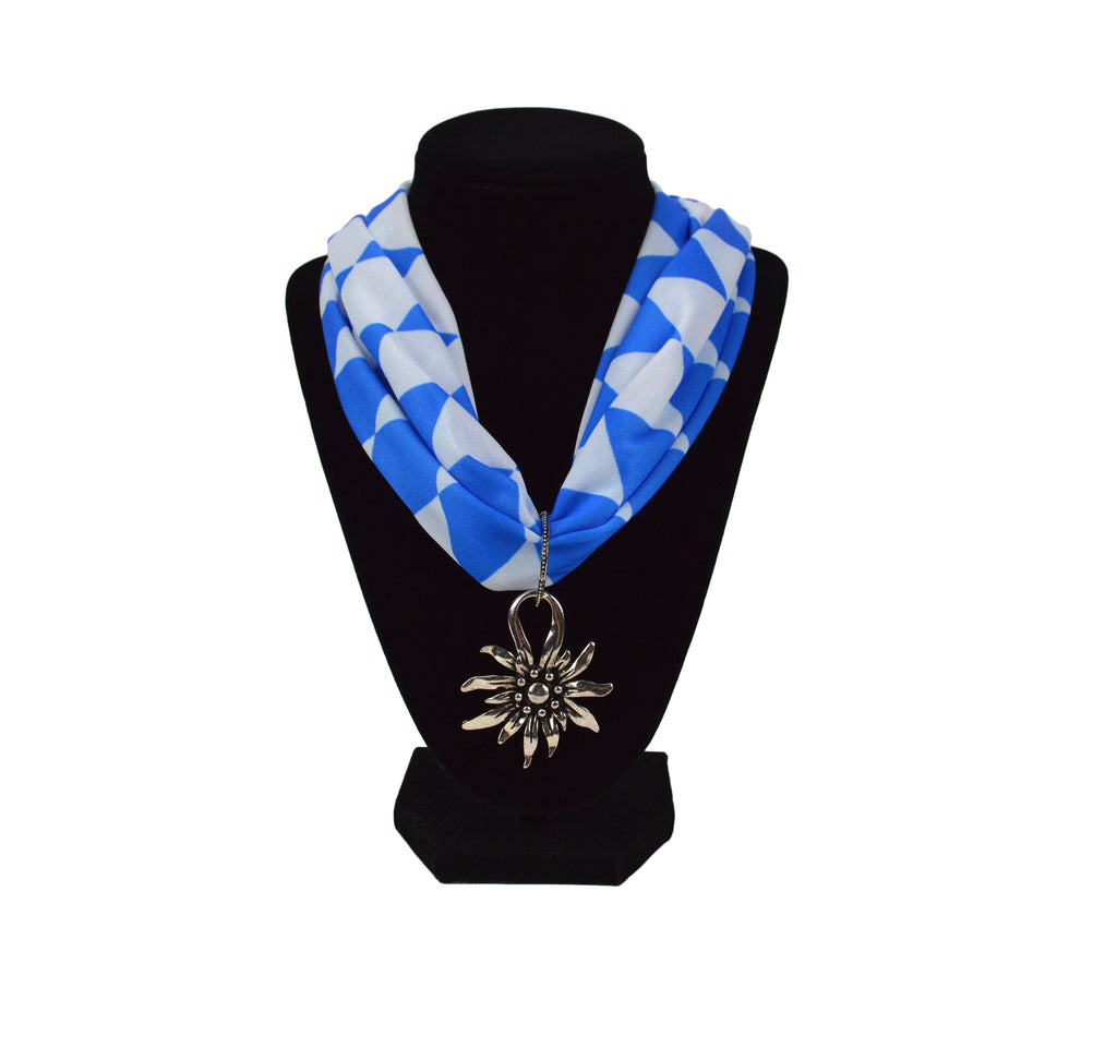 Bavarian Pattern Scarf with Edelweiss Oktoberfest Pendant - Edelweiss, German, Jewelry, New Products, NP Upload, Under $10, Yr-2016
