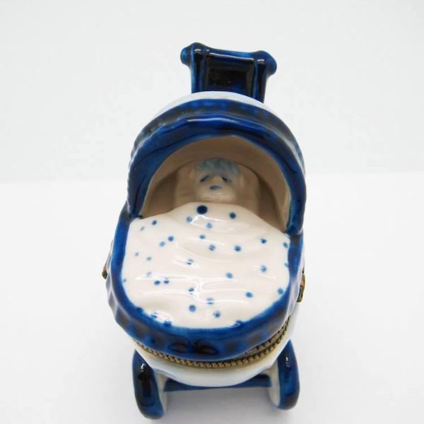 Delft Baby Buggy Jewelry Boxes - Collectibles, Delft Blue, Dutch, Figurines, Hinge Boxes, Hinge Boxes-Dutch, Home & Garden, Jewelry Holders, Kids, Toys - 2