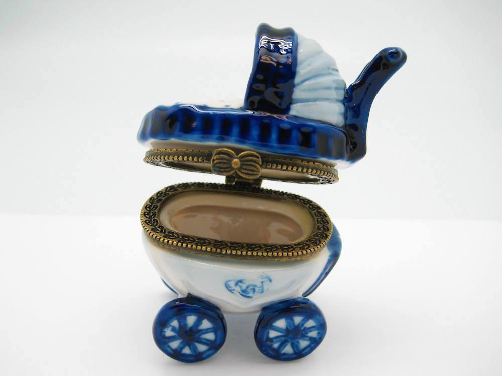 Delft Baby Buggy Jewelry Boxes - Collectibles, Delft Blue, Dutch, Figurines, Hinge Boxes, Hinge Boxes-Dutch, Home & Garden, Jewelry Holders, Kids, Toys - 2 - 3