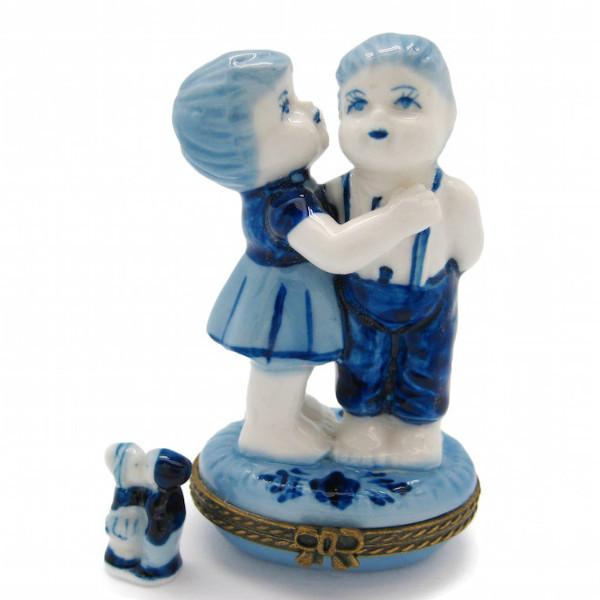 Boy and Girl Jewelry Boxes - Collectibles, Delft Blue, Dutch, Figurines, Hinge Boxes, Hinge Boxes-Dutch, Home & Garden, Jewelry Holders, Kids, Toys
