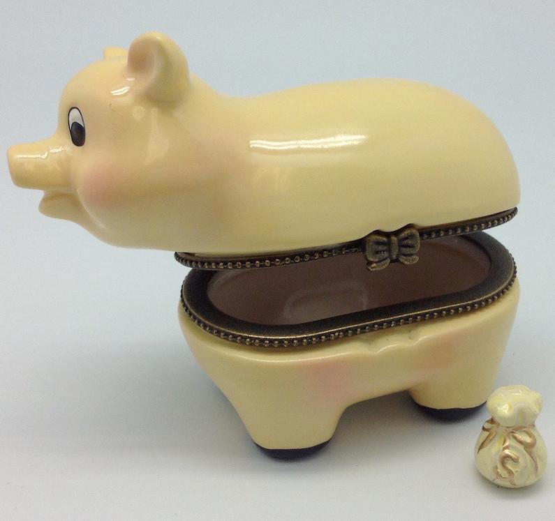 Children's Piggy Bank Jewelry Boxes - AN: Pigs, Animal, Collectibles, Figurines, General Gift, Hinge Boxes, Hinge Boxes-General, Home & Garden, Jewelry Holders, Kids, Nursery Rhyme, Toys - 2