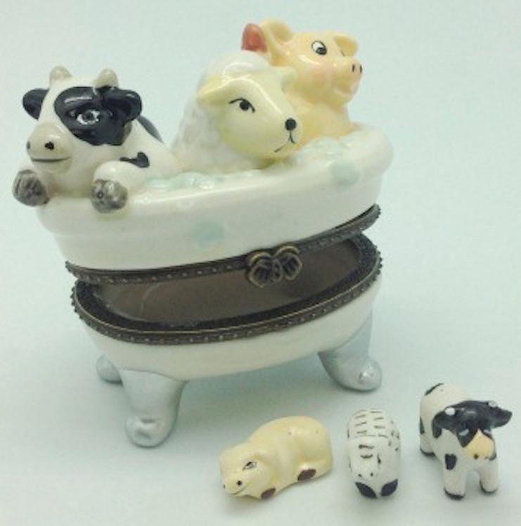 Children's Cow, Sheep, Pig Bathtub Jewelry Boxes - AN: Cow, AN: Pigs, AN: Sheep, Animal, Collectibles, Figurines, General Gift, Hinge Boxes, Hinge Boxes-General, Home & Garden, Jewelry Holders, Toys - 2 - 3